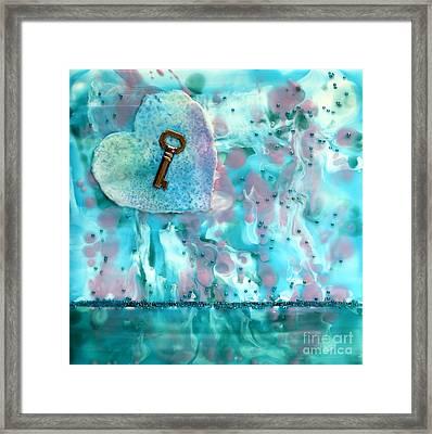 Key To My Heart Encaustic Framed Print by Pattie Calfy