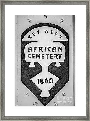 Key West African Cemetery 3 - Key West - Black And White Framed Print