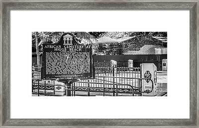 Key West African Cemetery 7 - Key West - Panoramic - Black And White Framed Print