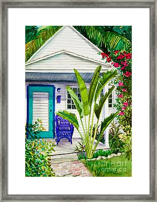 Key West Cottage Watercolor Framed Print by Michelle Wiarda
