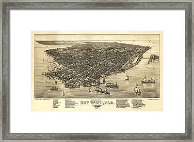 Key West Florida Map 1884 Framed Print