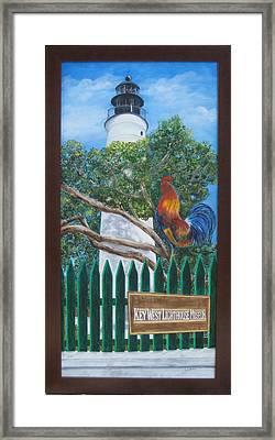 Key West Lighthouse Rooster Framed Print