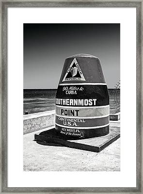 Key West Cuba Distance Marker Framed Print