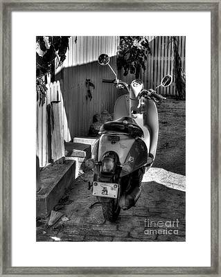 Key West Scooter Bw Framed Print by Mel Steinhauer