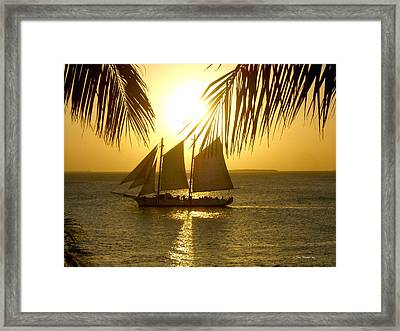 Key West Sunset Framed Print by Joan  Minchak
