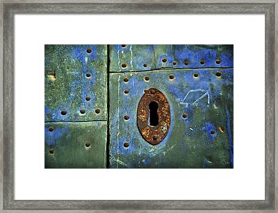 Keyhole On A Blue And Green Door Framed Print by RicardMN Photography