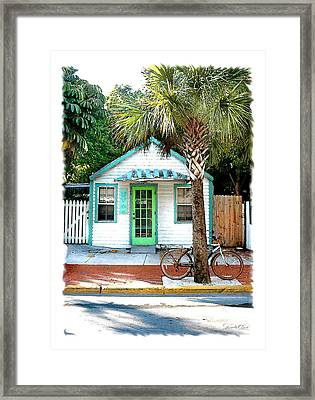 Keys House And Bike Framed Print