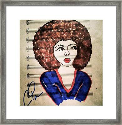 Framed Print featuring the drawing Keys In Blue by Chrissy  Pena