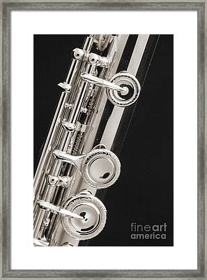 Keys Of A Flute Music Instrument In Sepia 3444.01 Framed Print by M K  Miller