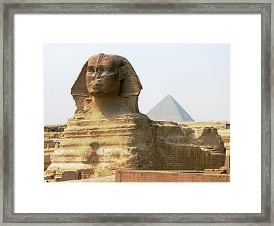 Framed Print featuring the photograph Khafra's Guardian by Anthony Baatz