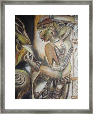 Khajuraho Tantrik Dancer Applying Make-up Framed Print