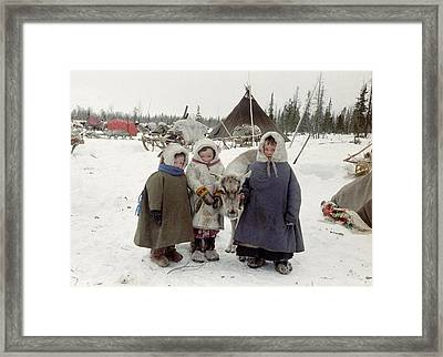 Khanty Children Framed Print by Science Photo Library