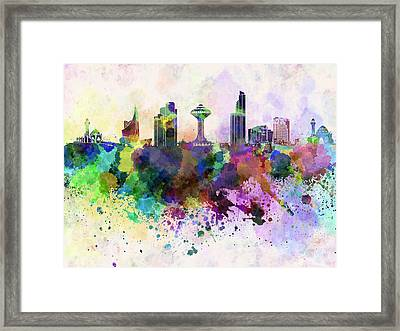 Khobar Skyline In Watercolor Background Framed Print by Pablo Romero