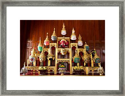 Khon Masks Is Situated On The Set Of Altar Table Framed Print