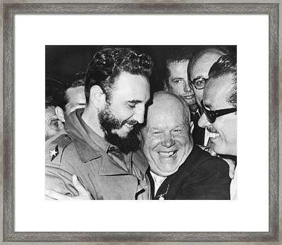 Khrushchev And Castro Framed Print by Underwood Archives