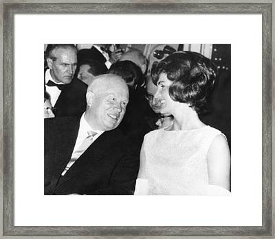 Khrushchev And Jackie Kennedy Framed Print by Underwood Archives