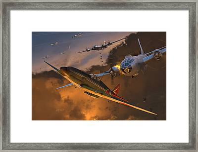 Ki-61 Hien Vs. B-29s Framed Print by Robert Perry