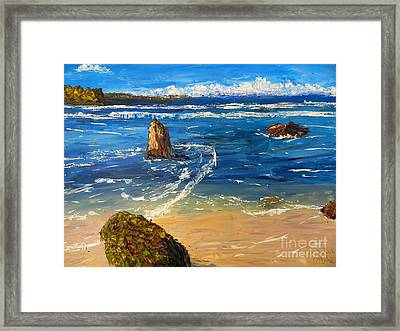 Framed Print featuring the painting Kiama Beach by Pamela  Meredith