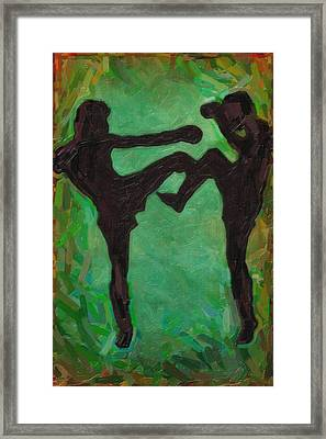 Kick Boxing Framed Print by Celestial Images