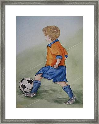 Kick N It ....boy And Soccer Framed Print