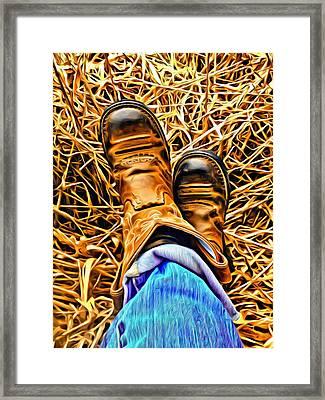 Kickin' Back Framed Print by Jen  Brooks Art