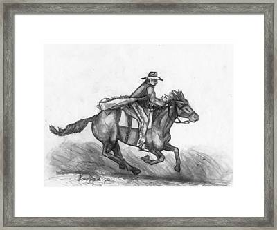 Framed Print featuring the drawing Kickin Up Dust by Shana Rowe Jackson