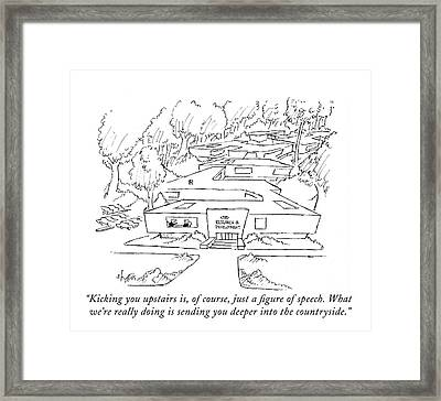 Kicking You Upstairs Framed Print by Sidney Harris