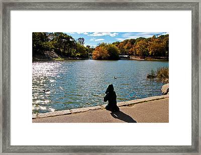 Kid Fishing Framed Print