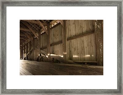 Kidder Hill Covered Bridge Interior Framed Print