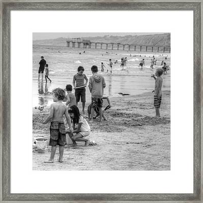 Kids At Beach Framed Print