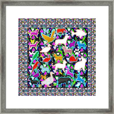 Kids Count The Birds Butterflies N Animals Circle Artistic Navin Joshi Rights Managed Images Graphic Framed Print by Navin Joshi