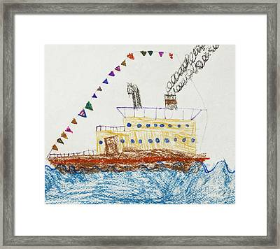 Kid's Drawing Of A Passenger Ship In The Sea Framed Print