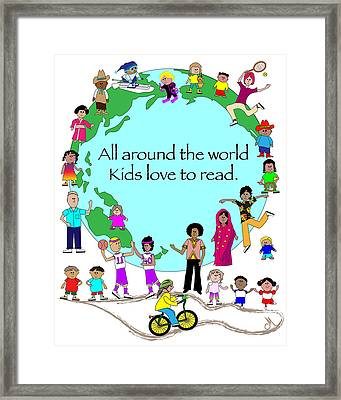 Kids Love To Read Framed Print by Chris Morningforest