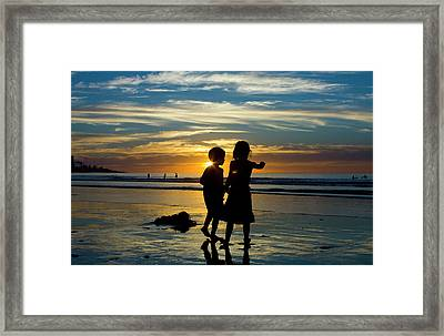Kids On The Beach Framed Print