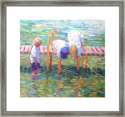 Kids On The Jetty Framed Print by Jackie Simmonds