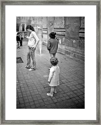 Kids With Fireworks Framed Print
