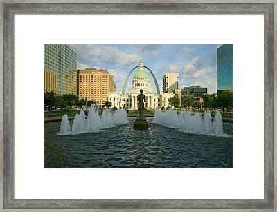 Kiener Plaza - The Runner In Water Framed Print