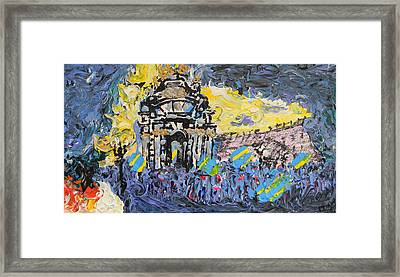 Kiev Burning Framed Print by Marwan George Khoury
