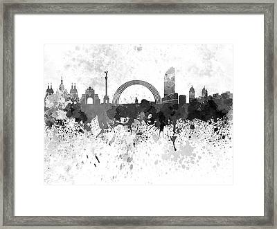 Kiev Skyline In Black Watercolor On White Background Framed Print