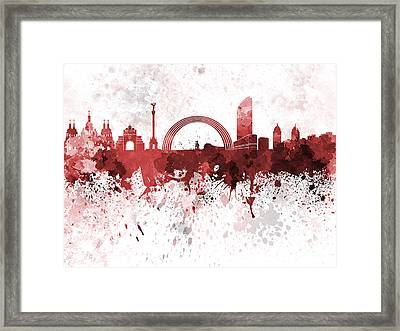 Kiev Skyline In Red Watercolor On White Background Framed Print