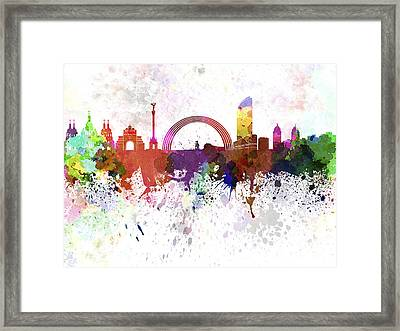 Kiev Skyline In Watercolor On White Background Framed Print