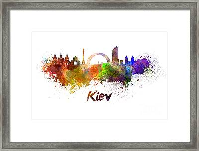 Kiev Skyline In Watercolor Framed Print