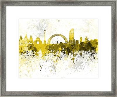 Kiev Skyline In Yellow Watercolor On White Background Framed Print