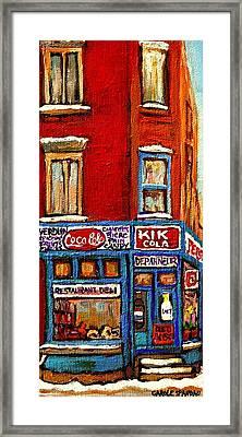 Kik Cola Pepsi  Cola Corner Depanneur Epicerie Marche Fruits Verdun Winter Montreal City  Scene Framed Print by Carole Spandau