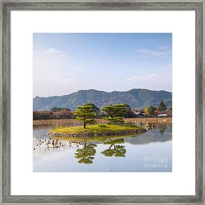 Kikugashima Island In Osawa Pond Daikaku-ji Temple Kyoto Framed Print by Colin and Linda McKie