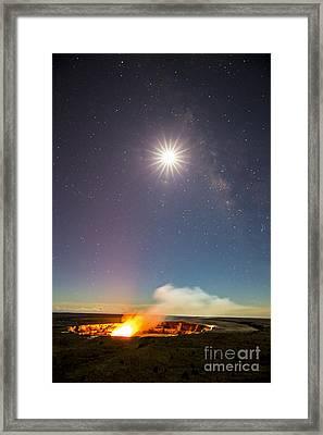 Kilauea Under The Milky Way Framed Print