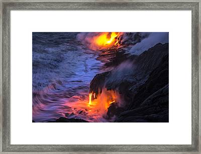 Kilauea Volcano Lava Flow Sea Entry 5 - The Big Island Hawaii Framed Print by Brian Harig