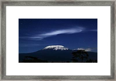 Kilimanjaro In Moonlight Framed Print by Babak Tafreshi