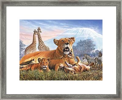 Kilimanjaro Lions Framed Print by Steve Crisp