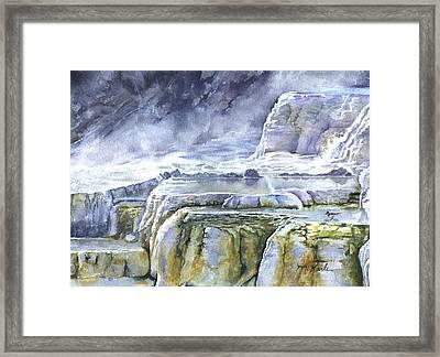 Killdeer Palisades - Mammoth Hot Springs Framed Print